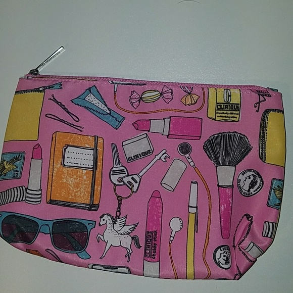 Clinique Handbags - Clinique pink makeup bag